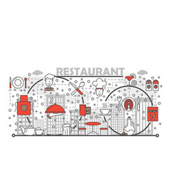 restaurant concept flat line art vector image
