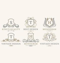retro royal vintage shields logotype set vector image