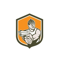 Robber Pointing Gun Shield Retro vector