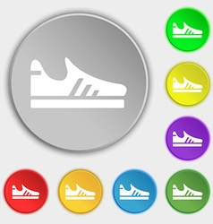 Running shoe icon sign Symbol on eight flat vector image