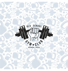 Seamless pattern and emblem gym club vector image