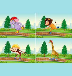 set animal playing rollerskate in park vector image