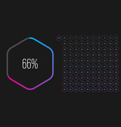 Set hexagon percentage diagrams from 0 to 100 vector