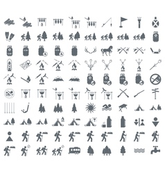 Set of 100 tourism icons vector image