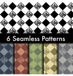 Set of 6 rhombus seamless patterns vector image