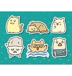 Set of 6 sticker doodle cats with different vector image