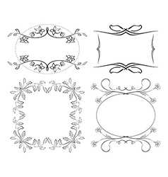 set of floral decorative frames vector image