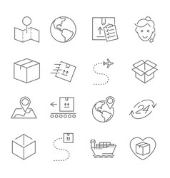 Set of package delivery related line icons vector