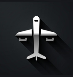 Silver plane icon isolated on black background vector