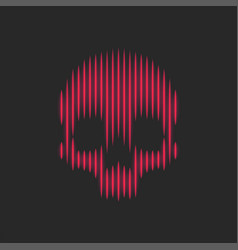 skull glowing symbol red neon thin lines artwork vector image