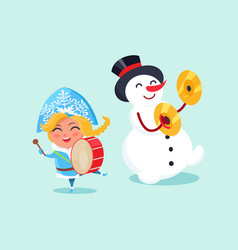snow maiden play on drums and snowman on cymbals vector image