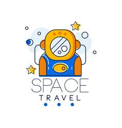 space travel logo design template space mission vector image