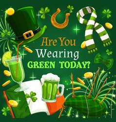 st patrick day shamrock green beer ireland flag vector image