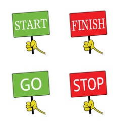 start and finish signboard color vector image