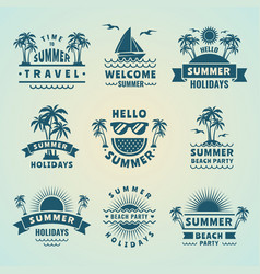 Summer labels tropical vector