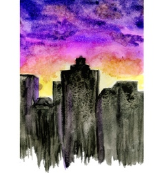 Sunset City Watercolor vector