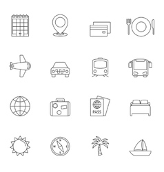 Travel outline icons vector image