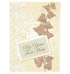 Vintage floral Ivy card vector