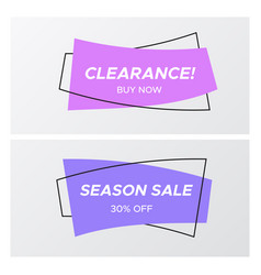 violet colors flat curved rectangle sale sticker vector image