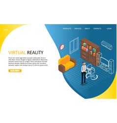 virtual reality landing page website vector image