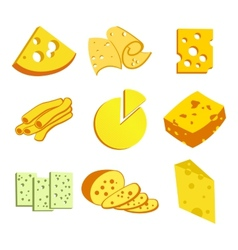 Whole cheese icons vector image