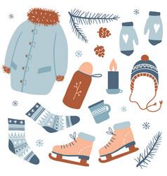 winter activities cozy winter vector image