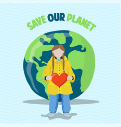 young girl with heart for earth day event vector image