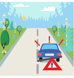 accident car at suburbs on the road and traffic vector image