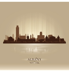Albany New York city skyline silhouette vector image