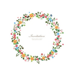 invitation card with floral wreath for your design vector image vector image