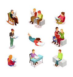 isometirc reading people icon set vector image vector image