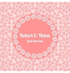 Just married wedding floral card template vector