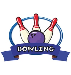 Logo design with bowling pins and ball vector