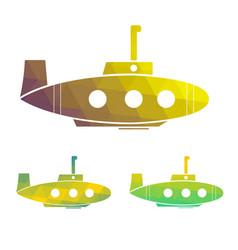 set of cartoon yellow submarine vector image