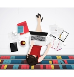 top view of young woman sitting on floor vector image vector image