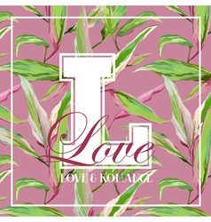 Vintage tropical leaves and flowers graphic vector