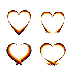 Abstract hearts with the colors of the German flag vector image vector image