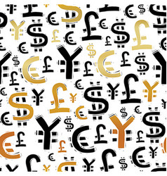 Black and gold currency signs usd pound euro and vector image vector image