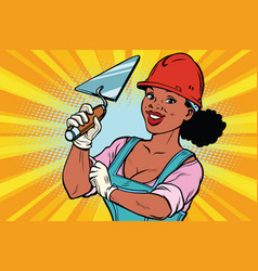 construction worker with trowell woman vector image