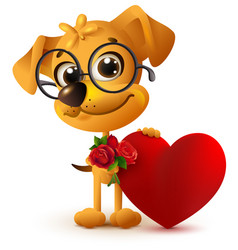 fun yellow dog with bouquet of red rose red heart vector image vector image