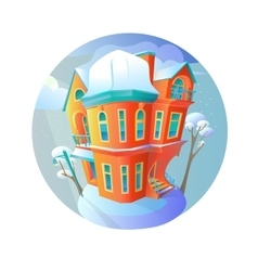 Bright house in the winter-time evening vector image vector image