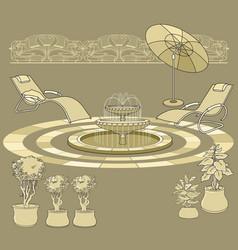 lounge chair fountain umbrella garden accessory vector image vector image