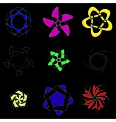 Schematic flowers on a black background vector image vector image