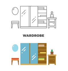 wardrobe concept design - flat and line style vector image vector image