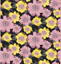 yellow and rosy stylized floral seamless pattern vector image vector image