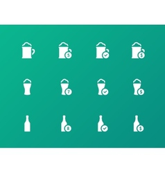 Beer and alcohol glasses icons on green background vector image