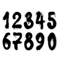 hand drawn graffiti grunge spraycan numbers vector image vector image