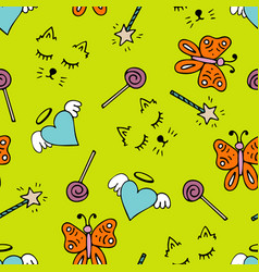 lovely seamless pattern with a hand-drawn doodles vector image