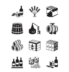 Production of whiskey and brandy vector image vector image