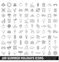 100 summer holidays icons set outline style vector image vector image